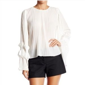 Endless Rose White Pleated Bell Sleeve Blouse